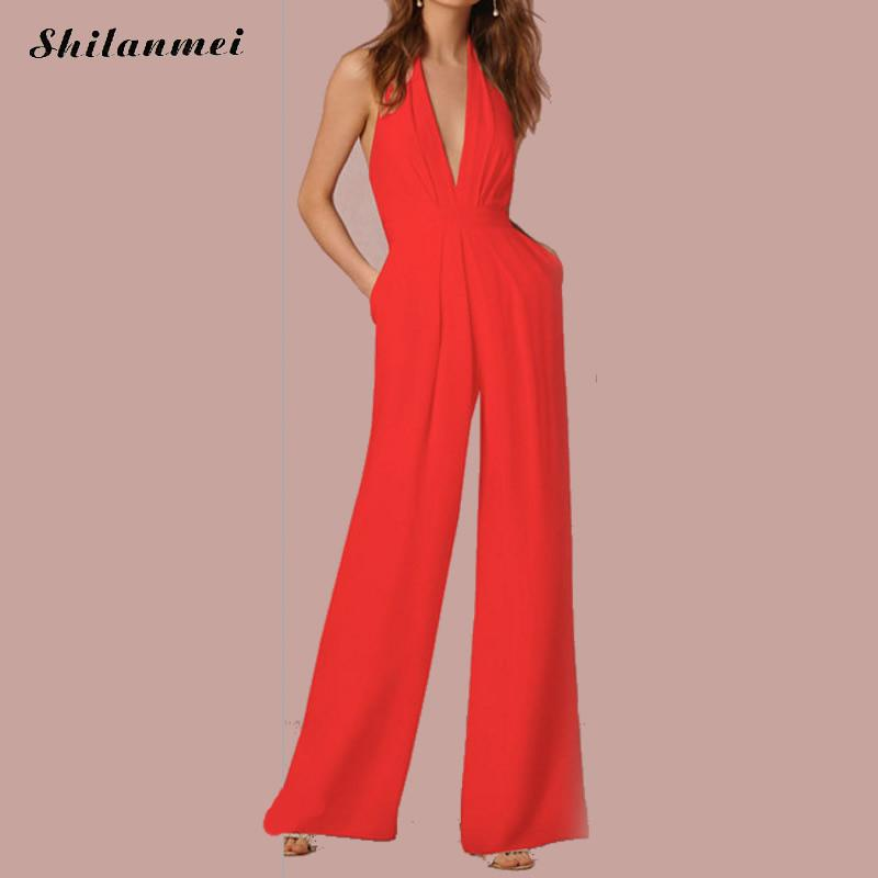 Elegant Rompers Womens Jumpsuit Wide Leg Ladies Deep V Neck Jumpsuit Office Overalls Combinaison Femme Jumpsuits For Women 2018