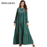 Missakso Spring Tassels Dress Green Autumn Tassels Dresses Women A line Full Sleeves Long Dresses Long Pretty Clothing Ladies