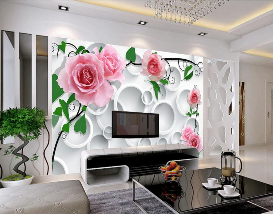 Custom modern wallpaper design circle background rose papel de parede hotel living room sofa tv for Living room wallpaper design
