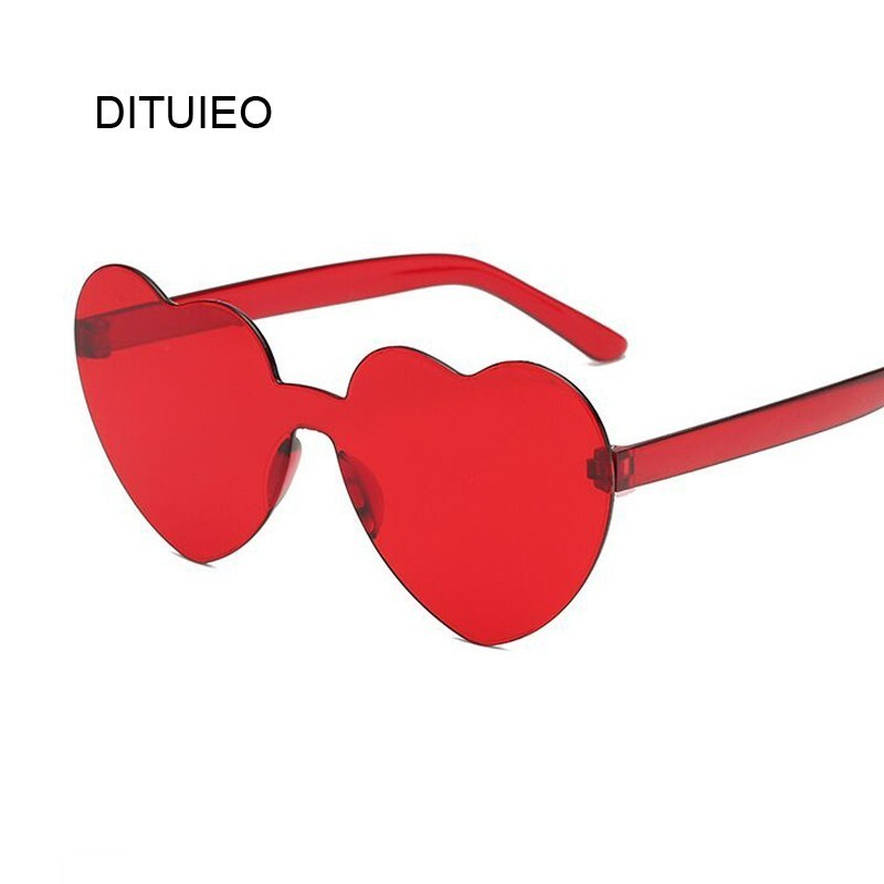 Gafas de sol de corazón de amor para mujer, marca de diseñador, nueva moda, lindo, Retro, Ojo de Gato, Vintage, gafas de sol económicas, rojo, femenino