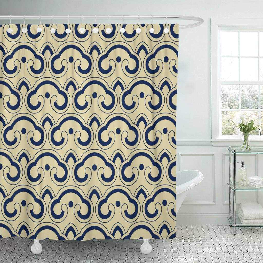 Us 17 34 35 Off Fabric Shower Curtain With Hooks Blue Chintz Oriental Retro Curve Cross Round Japanese Pattern Navy Abstract Asia Bathroom Decor In
