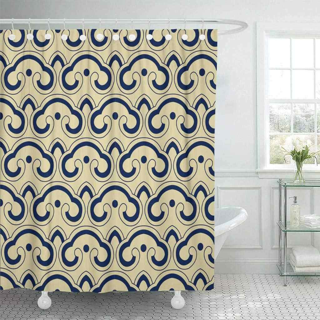 Fabric Shower Curtain With Hooks Blue Chintz Oriental Retro Curve Cross Round Japanese Pattern Navy Abstract Asia Bathroom Decor