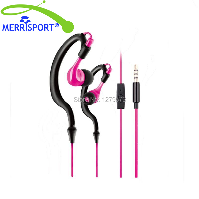 MERRISPORT Sports Stereo Headsets Headphone Earbuds 3.5mm In-ear Earphones with Microphone for Iphone Samsung PC Smartphone Pink