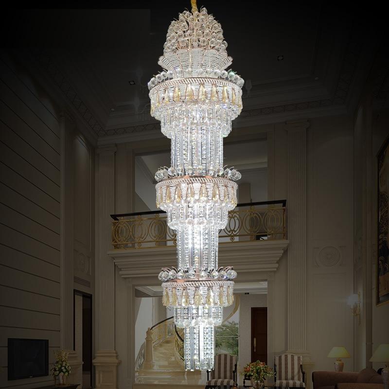 Scale Led di Illuminazione Lampadario Moderno Lustri In Oro Rosa K9 Lampadario di Cristallo di Luce di Ingegneria Lampadari di Hotel Villa Hall
