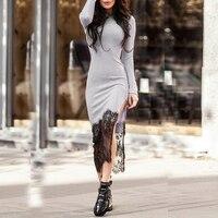 Autumn Bandage Dress Women Sexy Long Sleeve Patchwork Bodycon Lace Dresses Slim Winter Long Maxi Dress