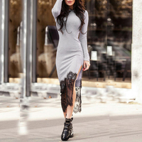 Autumn Bandage Dress Women Sexy Long Sleeve Patchwork Bodycon Lace Dresses Slim Winter Long Maxi Dress