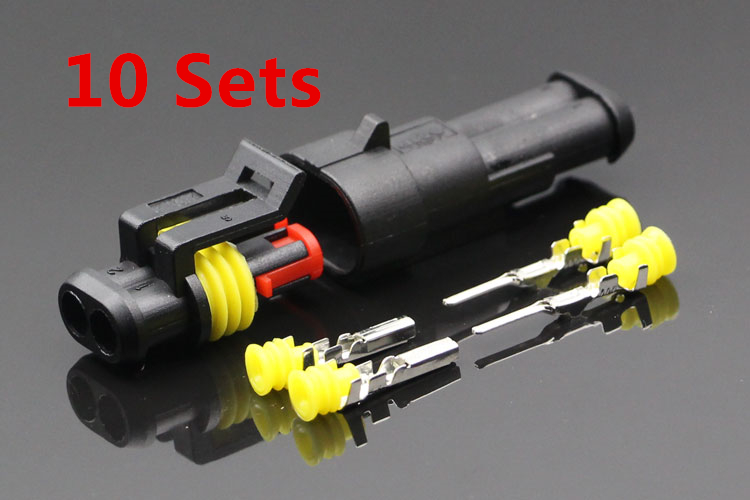 Promotion! 10 Kit 2 Pin Way Waterproof Electrical Wire Connector Plug Car Part promotion 10 kit 2 pin way waterproof electrical wire connector plug car part