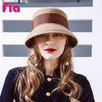 FIA 100% Len Cap Fedoras Hat Màu Đen Hồng Nơ Curl Birm Bảo Vệ Tai Ấm Bowler Floppy Phụ Nữ Đội Nón ZZ4019