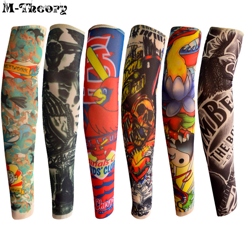 6 pcs Kid Size Fashion 3D Tattoo Sleeve Arm Nylon Stockings Leggings Boys Girls Rocker Skateboard Wearings