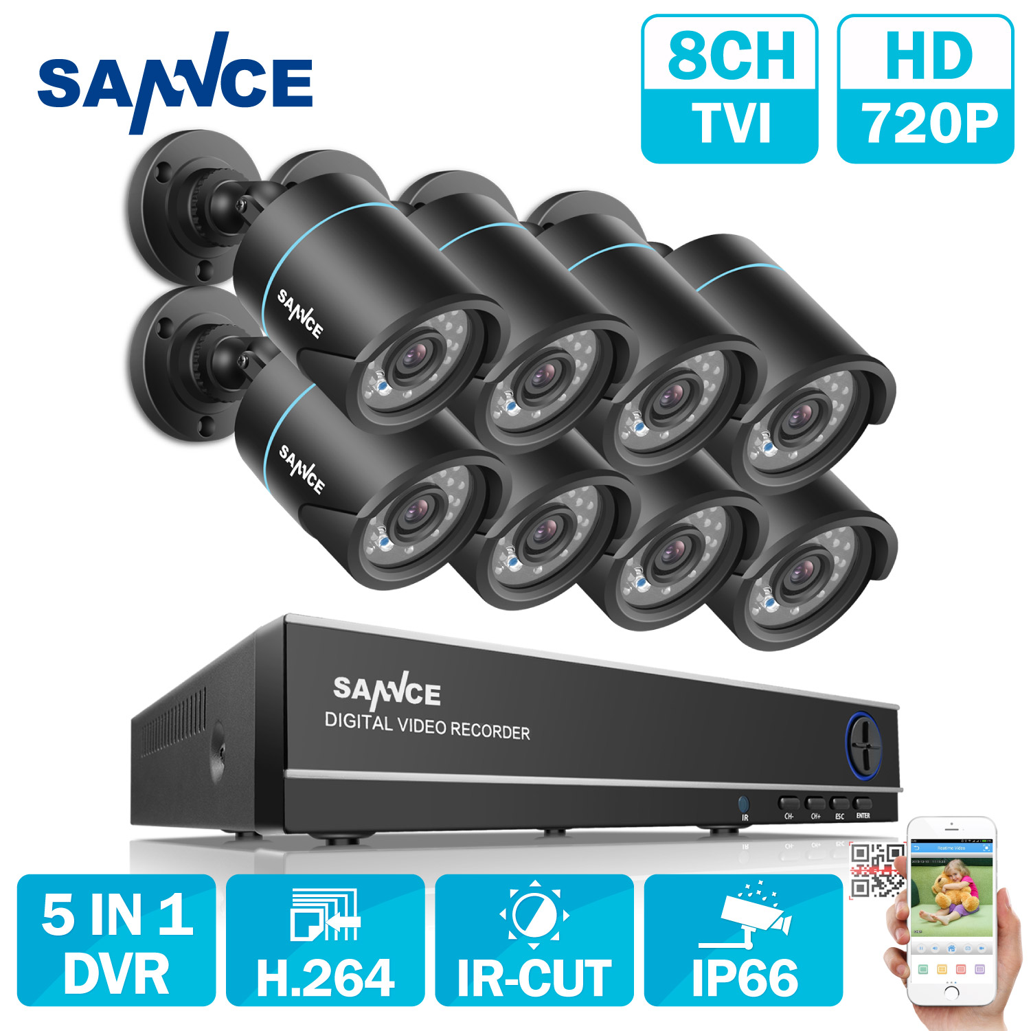 SANNCE 8CH Security Camera System 1080N 5in1 DVR Reorder and 8PCS HD 720P Outdoor Bullet CCTV Cameras