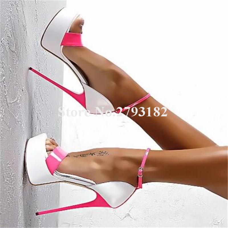 Marque Design femmes Sexy bout ouvert une sangle haute plate-forme talon aiguille sandales bride à la cheville Patchwork à talons hauts sandales Club chaussure