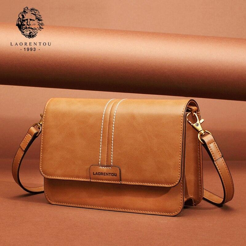 LAORENTOU Women Shoulder Bag Split Leather Crossbody Bag for Female Ladies Luxury Vintage Messenger Bag Valentine's Day gift