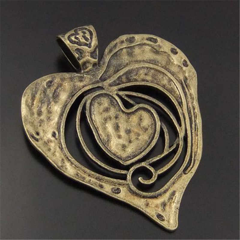 3pcs/lot Necklace Pendant Antique Bronze Tone Melting Heart Large Charms Pendant Vintage Jewelry Findings 68*63*2mm Punk 04110