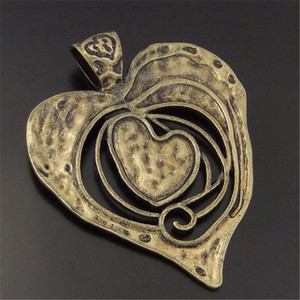 3pcs/lot Necklace Pendant Antique Bronze Tone Melting Heart Large Charms Pendant Vintage Jewelry Findings 68*63*2mm Punk 04110