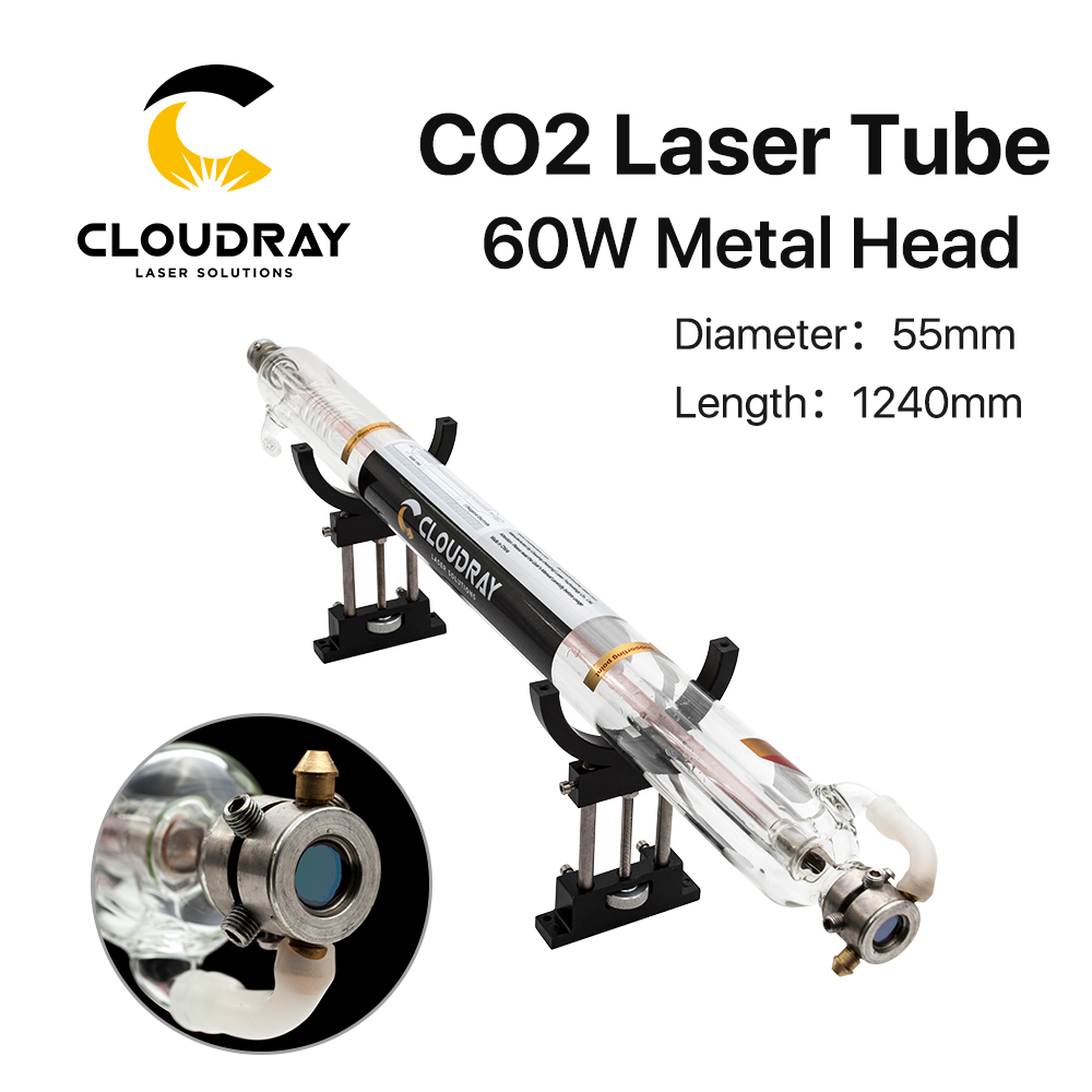 Cloudray 60W Co2 Laser Tube Length 1240mm Diameter 55mm Metal Head Glass Pipe for CO2 Laser Engraving Cutting Machine cloudray co2 glass laser tube 800mm 45 50w glass laser lamp for co2 laser engraving cutting machine