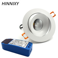 Hinnixy LED Angle Adjustable Spot Downlights Dimmable Round Recessed Lamp 75mm Cut Hole 5W/10W/15W Light Source Home Lighting