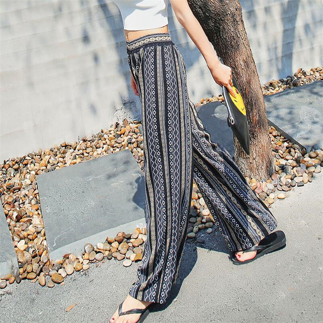 3c36319bee6b 2019 Summer Women Wide Leg Long Pants Palazzo Trousers Floral Beach Pants  Casual Classic Pant Preppy A3109