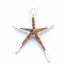 Opal Starfish Pendant Necklace with wave Chain