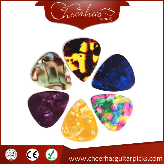 Marbled pearl celluloid blank guitar pick plectrum with random mixing various colors
