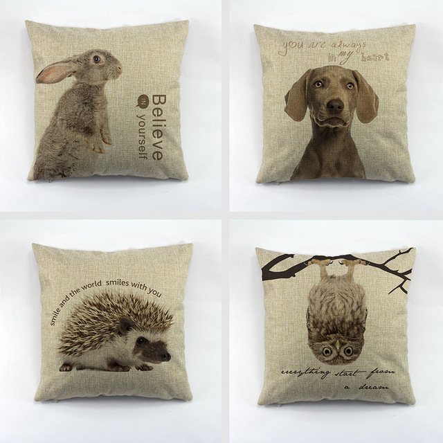 Linen Square Cushion Cover Animals Dog Owl Rabbit Hedgehog Pillow Case Decoration For Sofa Home Car Chair 45x45cm