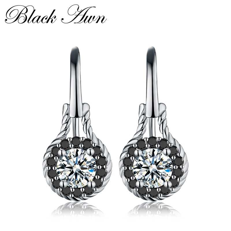 [BLACK AWN] Genuine 2.6g 925 Sterling Silver Earrings Fine Jewelry Flower Black Spinel Engagement Dangle Earrings for Women T092