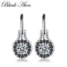 [BLACK AWN] Genuine 2.6g 925 Sterling Silver Earrings Fine Jewelry Flower Black Spinel Engagement Dangle for Women T092