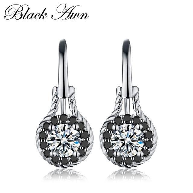 [BLACK AWN] Genuine 2.6g 925 Sterling Silver Earrings Fine Jewelry Flower Black Spinel Engagement Dangle Earrings for Women T092