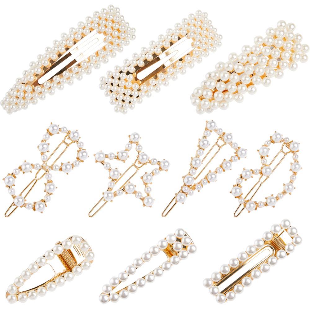 14387cf31 Cheap Fioday 2019 nuevas 10 piezas pinzas para el pelo de perlas de Color  dorado para
