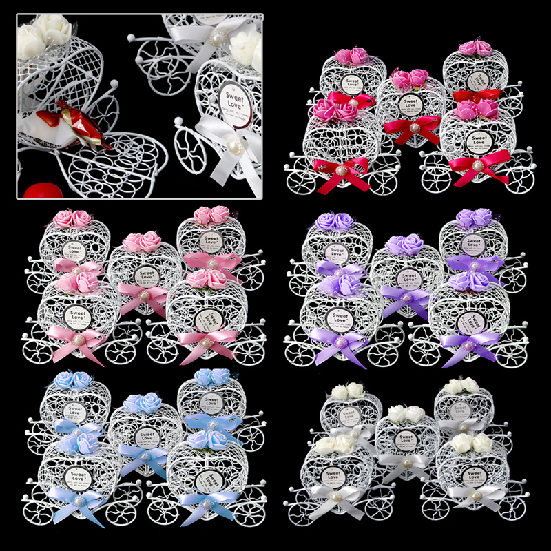 Beautiful 5Pcs Cinderella Carriage Candy Chocolate Boxes Birthday Wedding Party Favour New Party Gift Chrismas Hollow Box Decor