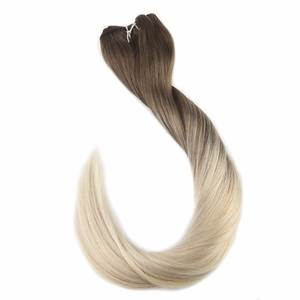 Hair-Weft Human-Hair-Extensions Full-Shine 100g -8 Weave Sew-Ribbon Fading Remy Balayage-Color
