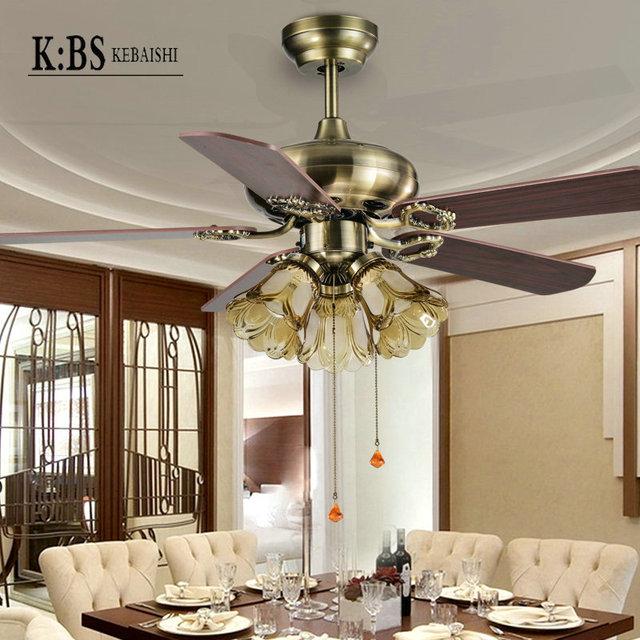 42 Inch Fan Lights Restaurant Bedroom Ceiling Fan With Light Lamp Antique  European Fan Light