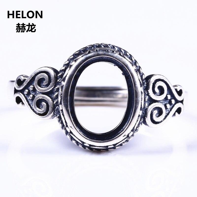 Ασημένιο ασήμι 925 Vintage ρετρό δαχτυλίδι αρραβώνων 7x9mm ωοειδές ... 936b0317300