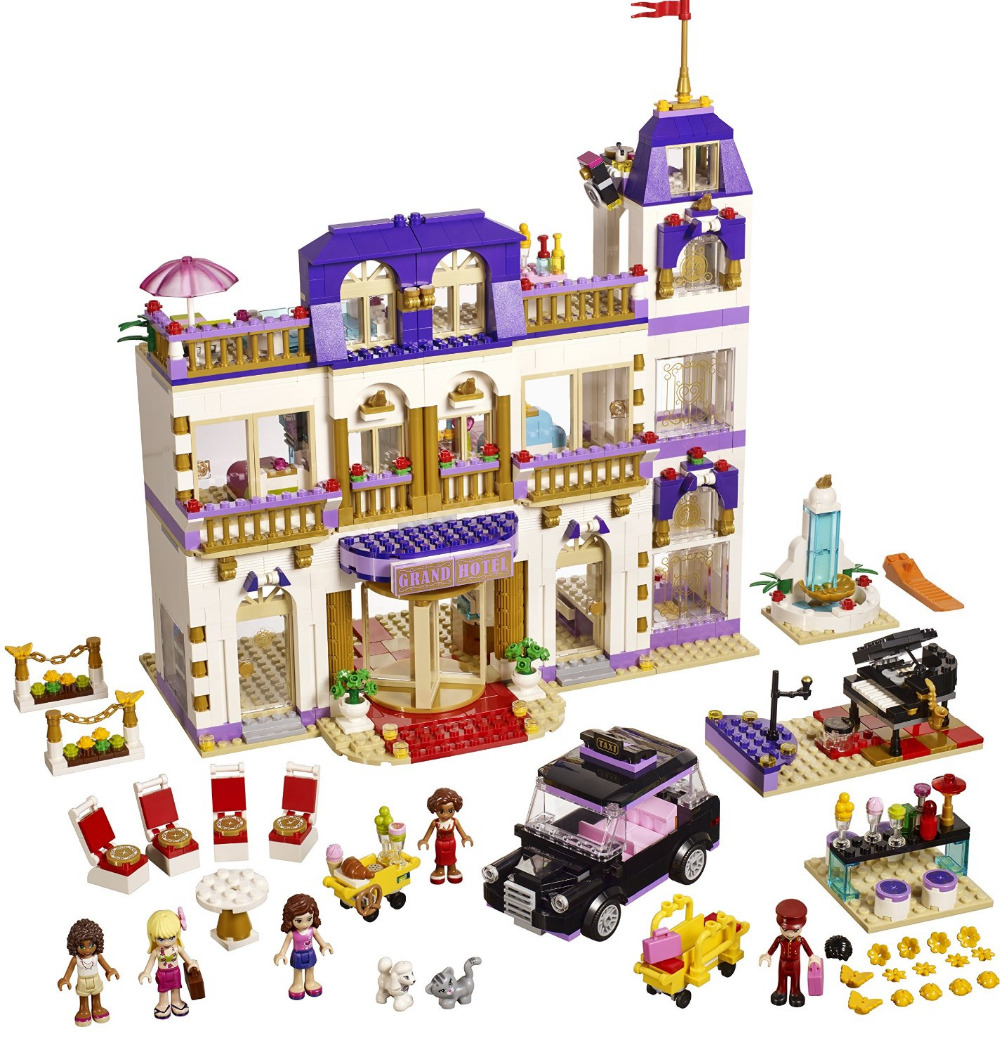 BELA Friends Series Heartlake Grand Hotel Building Blocks Classic For Girl Kids Model Toys Marvel Compatible Legoe city