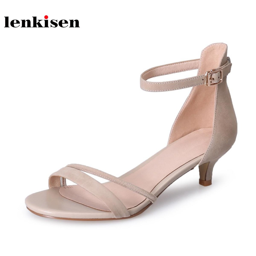 Lenkisen sheep suede buckle straps office simple style gladiator women sandals peep toe med heels new fashion summer shoes L07 2018 new popular gladiator style cow leather peep toe ankle straps fashion women med heel sandals summer brand causal shoes l80