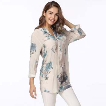 #womens tops and #blouses Long #Shirt Vintage Floral Summer Tops Ladies Office Work Wear Korean Fashion #fashion #boygrl