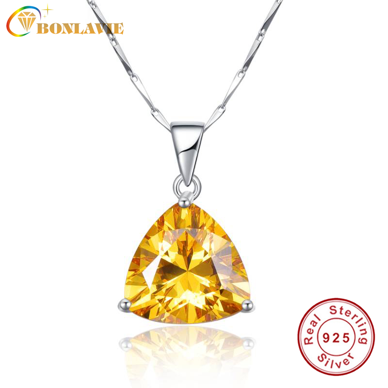BONLAVIE 100% 925 Sterling Silver Pendant Necklaces with Yellow Citrine Pendant Stone Best Gift for Girl Friend Wedding Jewelry image