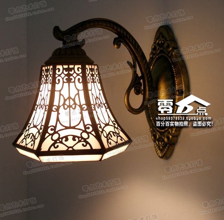 Tiffany European Baroque mirror lamp single head Bohemia bathroom bedroom bedside iron wall lamp