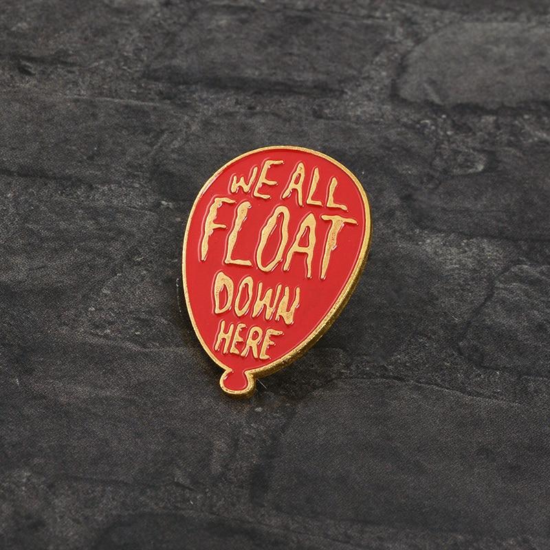 Pinos de balão vermelho pennywise todos nós flutuamos aqui stephen king it s it filme jóias esmalte pinos emblemas lapela broche