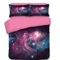 Moon Star Galaxy bedding set twin full queen king size Universe 3pc 3d painting beautiful duvet cover with pillowcase Kids Adult
