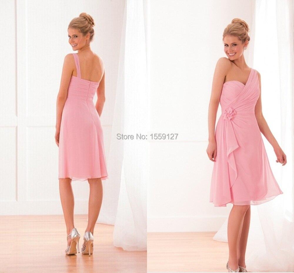 New Pink Beach Bridesmaid Dresses One Shoulder Zipper Back Knee ...