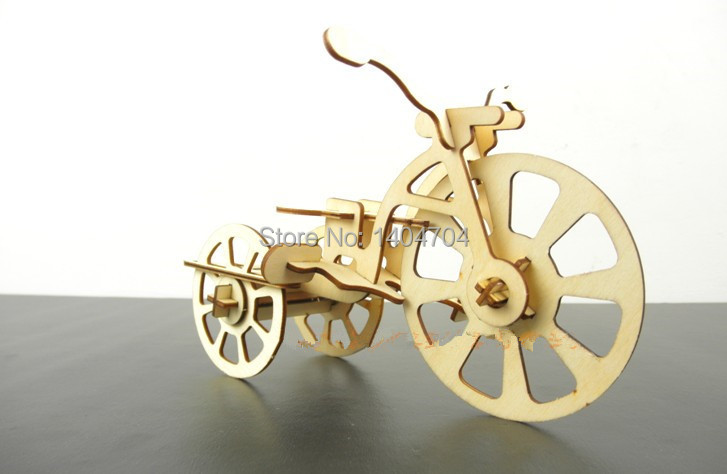 NIDALE model Free shipping laser Nice cut Wooden model 3D puzzle assemble the bicycle kit  DIY childern toys