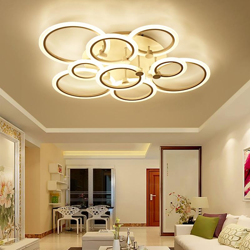 rings white black chandeliers LED circle modern chandelier ...