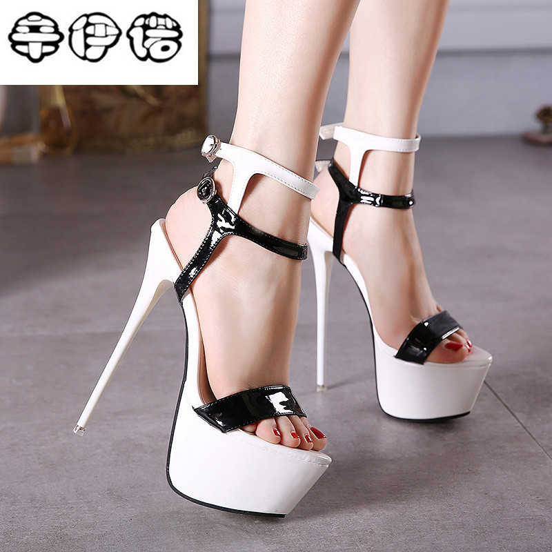 Big Size 34-40 Pu Leather High Heels Sandals 16cm Stripper Shoes Summer Wedding Party Shoes Women Gladiator Platform Sandals New 32 43 big size summer woman platform sandals fashion women soft leather casual silver gold gladiator wedges women shoes h19