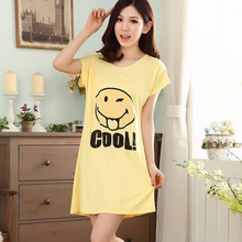 Summer Autumn Women Lady Casual Polyester Nightgown Round Neck Short Sleeve Sleepshirt Skirts Girl Lounge Sleepwear PA-5839