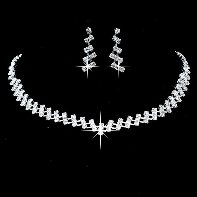 New Designer Silver Rhinestone Crystal Wedding Jewelry Sets Choker