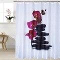 Happy Tree Fabric Polyester Stone Flower Waterproof Shower Curtain Thicken Bathroom Curtain Zen Stone Bath Curtain.