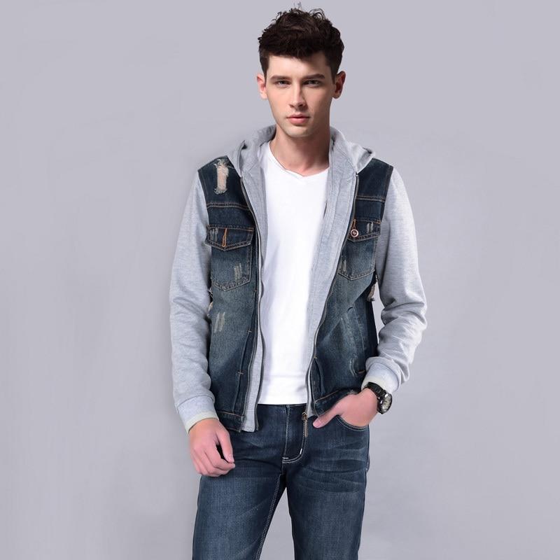 Sleeveless denim jacket with hood mens