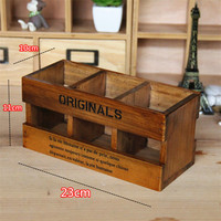 Wood Pencil Holder Desktop Cosmetic Storage Box Retro Three Three Grid Pen Container Lovely Decoration Square