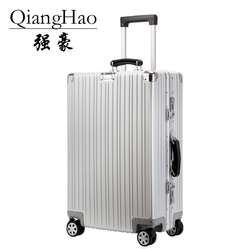 20/24/26/28 inch 100% aluminum magnesium alloy box luggage pull rod box champa metal luggage fashionable new type of suitcase