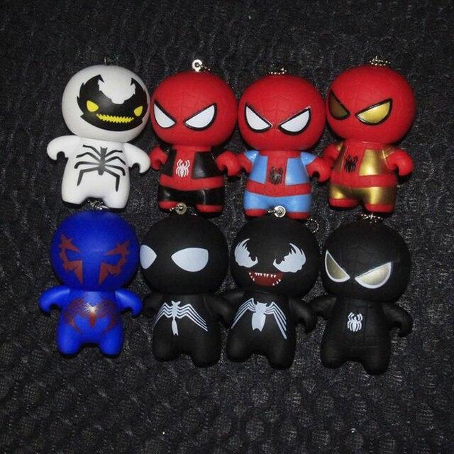 1 Pcs Super-heróis Kawaii Figurinhas Brinquedos Chaveiro Novo Anti Veneno Spiderman Homem Aranha Preto Vermelho Chaveiro
